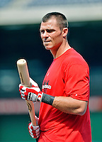 16 May 2012: Washington Nationals outfielder Rick Ankiel awaits his turn in the batting cage prior to a game against the Pittsburgh Pirates at Nationals Park in Washington, DC. The Nationals defeated the Pirates 7-4 in the first game of their 2-game series. Mandatory Credit: Ed Wolfstein Photo