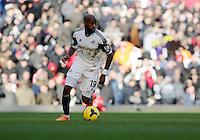 Pictured: Dwight Tiendalli of Swansea. 01 February 2014<br /> Re: Barclay's Premier League, West Ham United v Swansea City FC at Boleyn Ground, London.