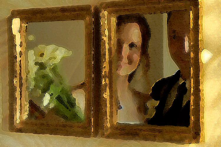 Wedding portrait in mirror