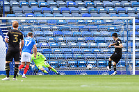 Scott Fraser of Milton Keynes Dons right scores from the penalty spot to make the score 1-1 during Portsmouth vs MK Dons, Sky Bet EFL League 1 Football at Fratton Park on 10th October 2020
