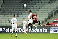 14th October 2020; Arena da Baixada, Curitiba, Brazil; Brazilian Serie A, Athletico Paranaense versus Corinthians;  Fabinho of Athletico Paranaense and Éderson of Corinthians