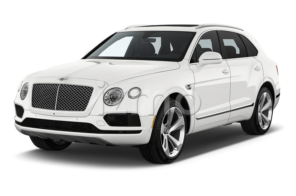 2018 Bentley Bentayga Base 5 Door SUV angular front stock photos of front three quarter view