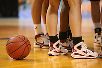 8 April 2008: Basketball and shoes during Stanford's 64-48 loss against the Tennessee Lady Volunteers in the 2008 NCAA Division I Women's Basketball Final Four championship game at the St. Pete Times Forum Arena in Tampa Bay, FL.