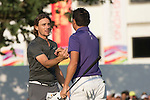 Tommy Fleetwood of England (in grey) shakes hans with David Lipsky of USA (in blue) after finishing the tournament during the 58th UBS Hong Kong Golf Open as part of the European Tour on 11 December 2016, at the Hong Kong Golf Club, Fanling, Hong Kong, China. Photo by Marcio Rodrigo Machado / Power Sport Images