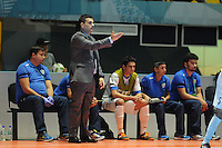 CALI -COLOMBIA-13-09-2016: Pulpis (ESP) entrenador de Uzbekistan gesticula durante el encuentro del grupo A entre Colombia y Uzbekistán de la Copa Mundial de Futsal de la FIFA Colombia 2016 jugado en el Coliseo del Pueblo en Cali, Colombia. /  Pulpis (ESP)  coach of Uzbekistan gestures during the match of the group A between Colombia and Uzbekistan of the FIFA Futsal World Cup Colombia 2016 played at Metropolitan Coliseo del Pueblo in Cali, Colombia. Photo: VizzorImage/ NR / Cont
