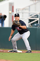 Tampa Yankees first baseman Mike Ford (40) waits for a throw during a game against the Fort Myers Miracle on April 15, 2015 at Hammond Stadium in Fort Myers, Florida.  Tampa defeated Fort Myers 3-1 in eleven innings.  (Mike Janes/Four Seam Images)