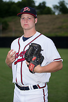 Danville Braves pitcher Cutter Dyals (15) poses for a photo prior to the game against the Princeton Rays at American Legion Post 325 Field on June 25, 2017 in Danville, Virginia.  The Braves walked-off the Rays 7-6 in 11 innings.  (Brian Westerholt/Four Seam Images)