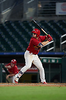 Palm Beach Cardinals Nolan Gorman (18) at bat during a Florida State League game against the Clearwater Threshers on August 10, 2019 at Roger Dean Chevrolet Stadium in Jupiter, Florida.  Clearwater defeated Palm Beach 11-4.  (Mike Janes/Four Seam Images)
