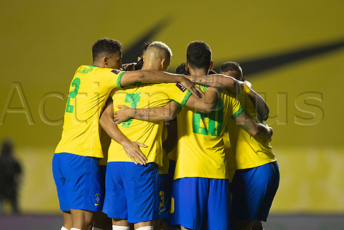 13th November 2020; Morumbi Stadium, Sao Paulo, Sao Paulo, Brazil; World Cup 2022 qualifiers; Brazil versus Venezuela;  Players of Brazil celebrate their goal from Roberto Firmino in the 67th minute 1-0
