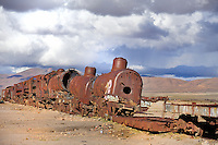 BOLIVIA  UYUNI village environment<br /> Uyuni Railway cemetery relicts of the mining boom during the last century.<br /> <br /> Full size: 69,2 MB