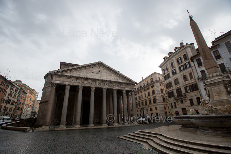 Pantheon. <br /> <br /> Rome, Italy. 17th Mar, 2021. Documenting Rome from a Bus window (Number 81) and during a quick walk in the City center, while the new and tougher Covid-19 restrictions, imposed by Mario Draghi's Government, have been implemented since Monday morning in Rome, its surrounding Lazio Region, and other 9 Regions, including: Lombardia, Campania, Molise, Emilia Romagna, Friuli-Venezia Giulia, Marche, Piemonte, Puglia, Veneto and Autonomous Province of Trento. The local authorities tightened rules and restrictions due to a spike in the Covid-19 / Coronavirus cases. A new self-certification (autocertificazione, downloadable from here 1.) is needed to leave home which is allowed only for urgent reasons, mainly work and health. Italy will be placed under nationwide lockdown over the Easter weekend. <br /> <br /> Footnotes & Links:<br /> 1. http://www.regione.lazio.it/binary/rl_main/tbl_news/autocertificazione_1_.pdf