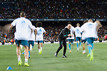 Real Madrid squad warming up during the Supercopa de Espana Final 1st Leg match between FC Barcelona and Real Madrid at Camp Nou on August 13, 2017 in Barcelona, Spain. Photo by Marcio Rodrigo Machado / Power Sport Images