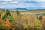 Fall foliage on Lake Winnipesaukee seen from Alton, NH, USA