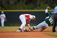Illinois State Redbirds second baseman Joe Kelch (3) tags Brandon Hughes (33) sliding in during a game against the Michigan State Spartans on March 8, 2016 at North Charlotte Regional Park in Port Charlotte, Florida.  Michigan State defeated Illinois State 15-0.  (Mike Janes/Four Seam Images)