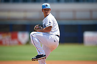 Charlotte Stone Crabs starting pitcher Tobias Myers (19) during a Florida State League game against the Dunedin Blue Jays on April 17, 2019 at Charlotte Sports Park in Port Charlotte, Florida.  Charlotte defeated Dunedin 4-3.  (Mike Janes/Four Seam Images)