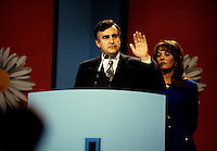 "Montreal (Qc) CANADA - File Photo - Oct 30 1995 -<br /> <br /> Lucien Bouchard, Leader Bloc Quebecois and wife  adress the crowd present at the Montreal Convention Centre on the Referendum night, Oct 30 1995.<br /> <br /> The 1995 Quebec referendum was the second referendum to ask voters in the Canadian province of Quebec whether Quebec should secede from Canada and become an independent state, through the question:<br /> <br />     * Do you agree that QuÈbec should become sovereign after having made a formal offer to Canada for a new economic and political partnership within the scope of the bill respecting the future of QuÈbec and of the agreement signed on June 12, 1995?.<br /> <br /> The 1995 referendum differed from the first referendum on Quebec's sovereignty in that the 1980 question proposed to negotiate ""sovereignty-association"" with the Canadian government, while the 1995 question proposed ""sovereignty"", along with an optional partnership offer to the rest of Canada.<br /> <br /> The referendum took place in Quebec on October 30, 1995, and the motion to decide whether Quebec should secede from Canada was defeated by a very narrow margin of: 50.58% ""No"" to 49.42% ""Yes""."