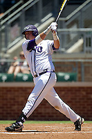 Designated Hitter Kevin Cron #00 of the Texas Christian University Horned Frogs swings during the NCAA Regional baseball game against the Ole Miss Rebels on June 1, 2012 at Blue Bell Park in College Station, Texas. Ole Miss defeated TCU 6-2. (Andrew Woolley/Four Seam Images)