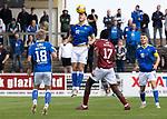 Arbroath v St Johnstone…15.08.21  Gayfield Park      Premier Sports Cup<br />Jamie McCart gets above Joel Nouble<br />Picture by Graeme Hart.<br />Copyright Perthshire Picture Agency<br />Tel: 01738 623350  Mobile: 07990 594431