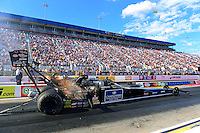 Sept. 14, 2012; Concord, NC, USA: NHRA top fuel dragster driver David Grubnic during qualifying for the O'Reilly Auto Parts Nationals at zMax Dragway. Mandatory Credit: Mark J. Rebilas-