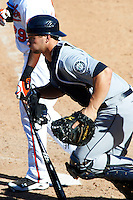 Peoria Javelinas catcher Mike Zunino #36, of the Seattle Mariners organization, during an Arizona Fall League game against the Mesa Solar Sox at HoHoKam Park on October 15, 2012 in Mesa, Arizona.  Peoria defeated Mesa 9-2.  (Mike Janes/Four Seam Images)