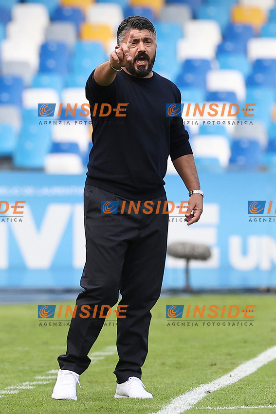 Gennaro Gattuso coach of SSC Napoli gestures<br /> during the Serie A football match between SSC Napoli and Atalanta BC at stadio San Paolo in Napoli (Italy), October 17th, 2020. <br /> Photo Cesare Purini / Insidefoto