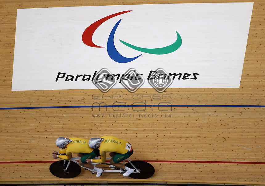 Bryce Lindores and Sean Finning (AUS) in the Men's Individual B Pursuit.<br /> Track Cycling (Thursday 29th Aug)<br /> Paralympics - Summer / London 2012<br /> London England 29 Aug - 9 Sept <br /> © Sport the library/Joseph Johnson