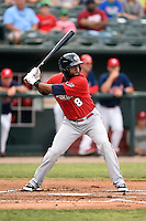 Oklahoma City RedHawks outfielder Austin Wates (8) at bat during a game against the Memphis Redbirds on May 23, 2014 at AutoZone Park in Memphis, Tennessee.  Oklahoma City defeated Memphis 12-10.  (Mike Janes/Four Seam Images)