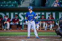 Andrew Shaps (17) of the Ogden Raptors bats during a game against the Idaho Falls Chukars at Lindquist Field on August 29, 2018 in Ogden, Utah. Idaho Falls defeated Ogden 15-6. (Stephen Smith/Four Seam Images)