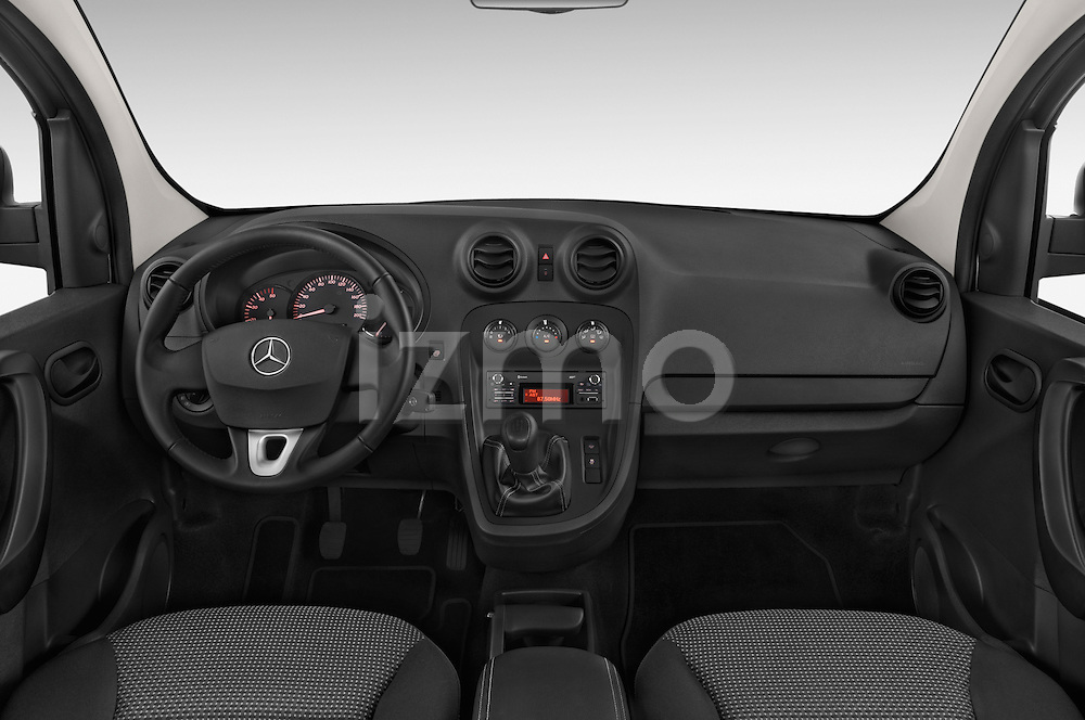 Stock photo of straight dashboard view of a 2015 Mercedes Benz Citan 109 Cdi 5 Places 5 Door Passenger Van Dashboard