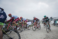 Nils Politt (GER/Katusha Alpecin), Marco Haller (AUT/Katusha Alpecin) cornerin<br /> <br /> 117th Paris-Roubaix (1.UWT)<br /> 1 Day Race: Compiègne-Roubaix (257km)<br /> <br /> ©kramon