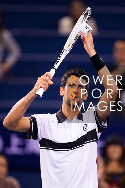 SHANGHAI, CHINA - OCTOBER 14:  Novak Djokovic of Serbia celebrates match point to Richard Gasquet of France during day four of the 2010 Shanghai Rolex Masters at the Shanghai Qi Zhong Tennis Center on October 14, 2010 in Shanghai, China.  (Photo by Victor Fraile/The Power of Sport Images) *** Local Caption *** Novak Djokovic