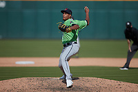 Gwinnett Stripers relief pitcher Edgar Santana (37) in action against the Charlotte Knights at Truist Field on May 9, 2021 in Charlotte, North Carolina. (Brian Westerholt/Four Seam Images)