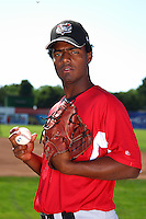Tri-City ValleyCats pitcher Joan Belliard #33 poses for a photo before a game against the Batavia Muckdogs at Dwyer Stadium on July 15, 2011 in Batavia, New York.  Batavia defeated Tri-City 4-3.  (Mike Janes/Four Seam Images)