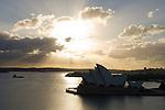 Sydney, New South Wales, Australia; Sydney Opera House and Sydney Harbor at sunrise, viewed from Sydney Harbor Bridge walking path © Matthew Meier, matthewmeierphoto.com All Rights Reserved