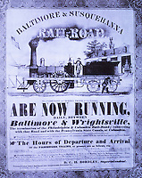 Technology:  Railroad Advertising, Timetable. Early 19th Century. 1840. Reference only.