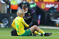 20th April 2021; Carrow Road, Norwich, Norfolk, England, English Football League Championship Football, Norwich versus Watford; Todd Cantwell of Norwich City goes down injured