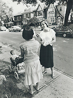 1984 FILE PHOTO - ARCHIVES -<br /> <br /> Campaign trail: Barbara McDougall, a former business journalist, talks to a constituent in her riding of St. Paul's during the recent election campaign. McDougall won the seat by more than 4,000 votes over Liberal John Roberts. She's minister of state for finance in Prime Minister Brian Mulroney's cabinet.<br /> <br /> 1984<br /> <br /> PHOTO :  Erin Comb - Toronto Star Archives - AQP