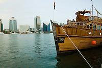 United Arab Emirates, Dubai, Tourist boat moored along Dubai Creek