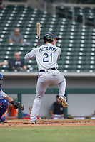 Peoria Javelinas designated hitter Joe McCarthy (21), of the Tampa Bay Rays organization, at bat during an Arizona Fall League game against the Mesa Solar Sox at Sloan Park on October 11, 2018 in Mesa, Arizona. Mesa defeated Peoria 10-9. (Zachary Lucy/Four Seam Images)