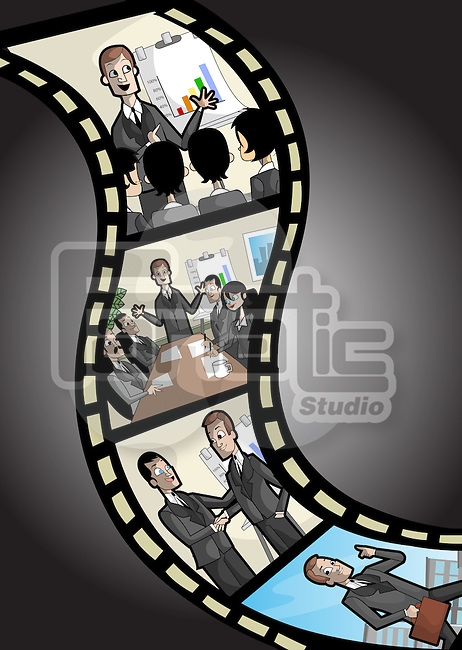Film reel with professionals print depicting the concept of business life cycle