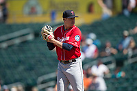 Tacoma Rainiers relief pitcher Mike Morin (28) prepares to deliver a pitch during a Pacific Coast League game against the Sacramento RiverCats at Raley Field on May 15, 2018 in Sacramento, California. Tacoma defeated Sacramento 8-5. (Zachary Lucy/Four Seam Images)