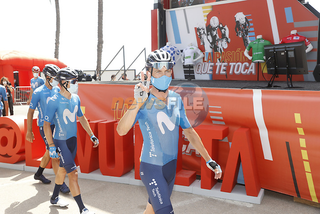 Jose Joaquin Rojas (ESP) and Movistar Team at sign on before the start of Stage 8 of La Vuelta d'Espana 2021, running 173.7km from Santa Pola to La Manga del Mar Menor, Spain. 21st August 2021.     <br /> Picture: Luis Angel Gomez/Photogomezsport | Cyclefile<br /> <br /> All photos usage must carry mandatory copyright credit (© Cyclefile | Luis Angel Gomez/Photogomezsport)