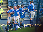 St Johnstone v Aberdeen...13.04.14    William Hill Scottish Cup Semi-Final, Ibrox<br /> Stevie May celebrates his second goal with Michael O'Halloran, James Dunne, Dave Mackay, Steven MacLean and Steven Anderson<br /> Picture by Graeme Hart.<br /> Copyright Perthshire Picture Agency<br /> Tel: 01738 623350  Mobile: 07990 594431
