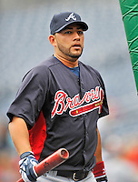 24 September 2011: Atlanta Braves catcher J.C. Boscan awaits his turn in the batting cage prior to a game against the Washington Nationals at Nationals Park in Washington, DC. The Nationals defeated the Braves 4-1 to even up their 3-game series. Mandatory Credit: Ed Wolfstein Photo