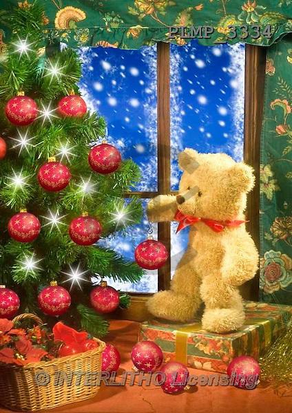 Marek, CHRISTMAS ANIMALS, WEIHNACHTEN TIERE, NAVIDAD ANIMALES, teddies, photos+++++,PLMP3334,#Xa# under Christmas tree,