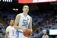 CHAPEL HILL, NC - NOVEMBER 01: Justin Pierce #32 of the University of North Carolina takes a free throw during a game between Winston-Salem State University and University of North Carolina at Dean E. Smith Center on November 01, 2019 in Chapel Hill, North Carolina.