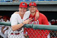 Auburn Doubledays Jack Dunn (left) and Tyler Dyson (right) before a NY-Penn League game against the Batavia Muckdogs on September 2, 2019 at Falcon Park in Auburn, New York.  Batavia defeated Auburn 7-0.  (Mike Janes/Four Seam Images)