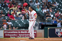 Kennon Fontenot (14) of the Louisiana Ragin' Cajuns celebrates as he crosses home plate after hitting a home run against the Vanderbilt Commodores in game five of the 2018 Shriners Hospitals for Children College Classic at Minute Maid Park on March 3, 2018 in Houston, Texas.  The Rajin' Cajuns defeated the Commodores 3-0.  (Brian Westerholt/Four Seam Images)