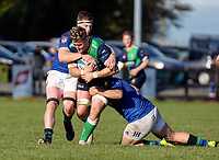 Saturday 10th October 2020 | Ballynahinch vs Queens<br /> <br /> Joe Dunleavy is tackled by David Whitten and Alexander Clarke during the Energia Community Series clash between Ballynahinch and Queens at Ballymacarn Park, Ballynahinch, County Down, Northern Ireland. Photo by John Dickson / Dicksondigital