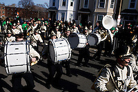 A marching band performs in the St. Patrick's Day Parade in South Boston, Massachusetts.